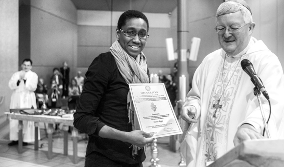 A tearful Jo Boyce receiving Ubi Caritas Award Photo by Alex Wright // Photo Lacaze