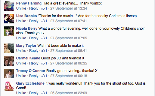 facebook comments about Coventry Joy of the Lord concert