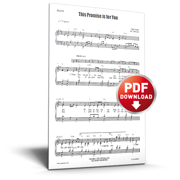 this promise is for you - sheet music - cjm music